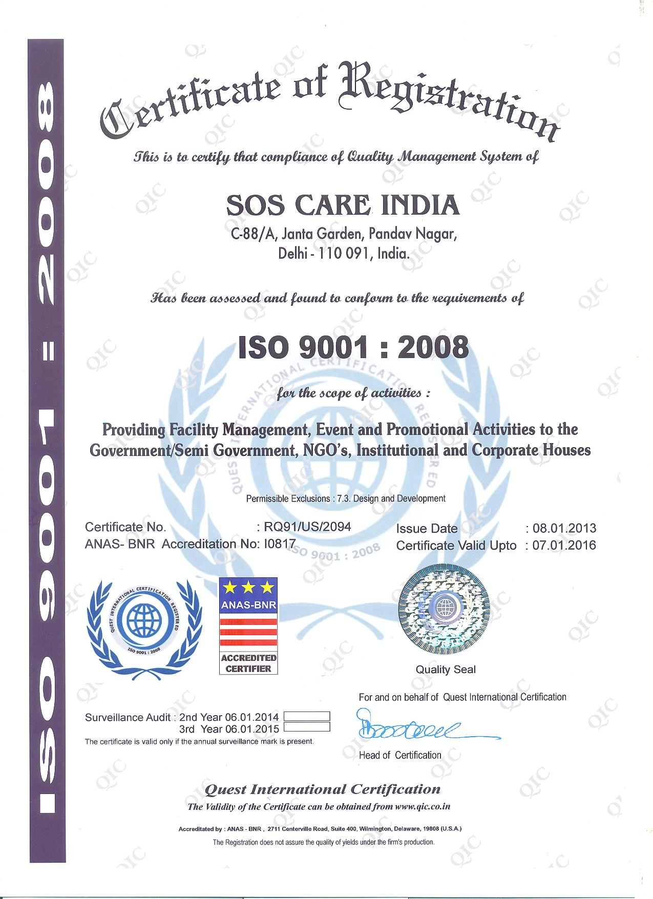 Legal status and reconitions sos care india iso certificate 1 1betcityfo Choice Image